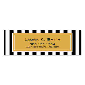 Business Card, Contemporary Black Stripes and Gold Double-Sided Mini Business Cards (Pack Of 20)