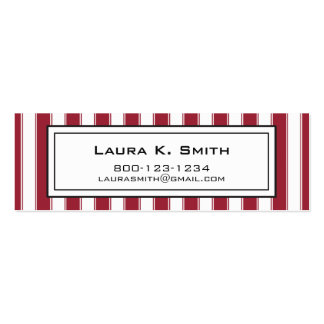 Business Card, Contemporary Dark Red Stripes Double-Sided Mini Business Cards (Pack Of 20)
