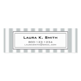 Business Card, Contemporary Gray Stripes Double-Sided Mini Business Cards (Pack Of 20)