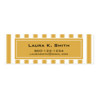Business Card, Contemporary Honey Gold Stripes Double-Sided Mini Business Cards (Pack Of 20)