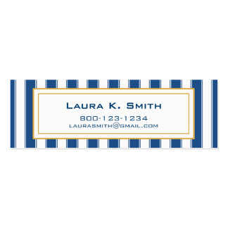 Business Card, Contemporary Navy BlueStripe Double-Sided Mini Business Cards (Pack Of 20)