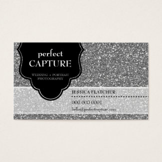 BUSINESS CARD cool bold captured silver glitter