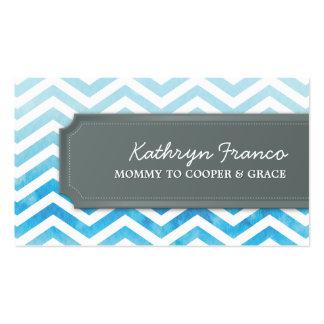 BUSINESS CARD cool chevron stripe blue watercolor