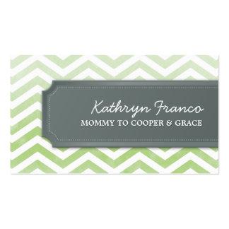 BUSINESS CARD cool chevron stripe green watercolor
