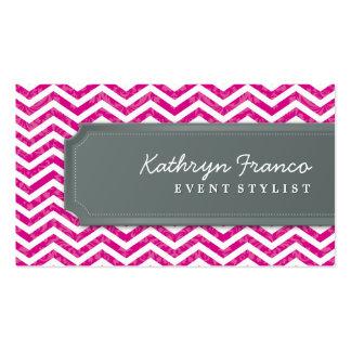 BUSINESS CARD cool chevron stripe hot pink grey