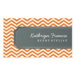 BUSINESS CARD cool chevron stripe orange grey