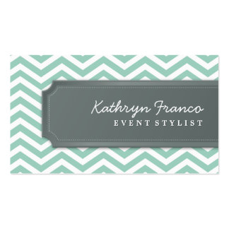 BUSINESS CARD cool chevron stripe pale green grey