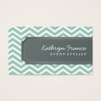 BUSINESS CARD cool chevron stripe pale green grey