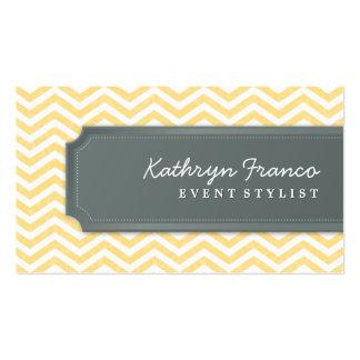 BUSINESS CARD cool chevron stripe pale yellow grey