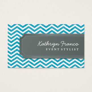 BUSINESS CARD cool chevron stripe turquoise grey