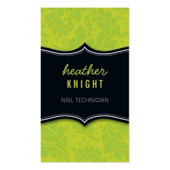 BUSINESS CARD cool flourish black lime green