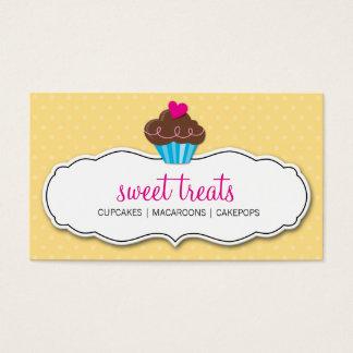 BUSINESS CARD cute bold cupcake butter yellow pink