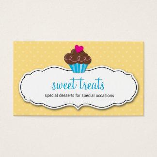 BUSINESS CARD cute bold cupcake lemon yellow aqua