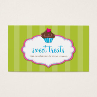 BUSINESS CARD cute bold cupcake lime green pink