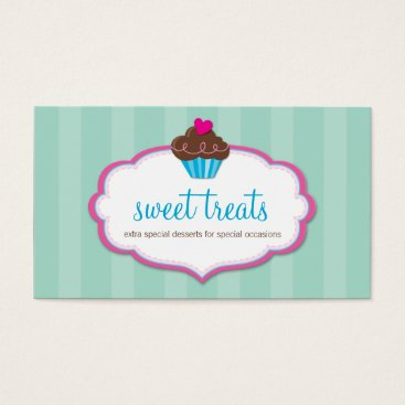 Professional Business BUSINESS CARD cute bold cupcake pink mint green