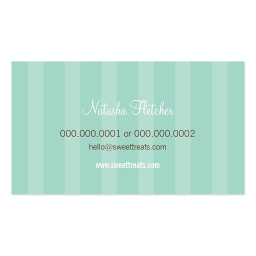BUSINESS CARD cute bold cupcake pink mint green (back side)