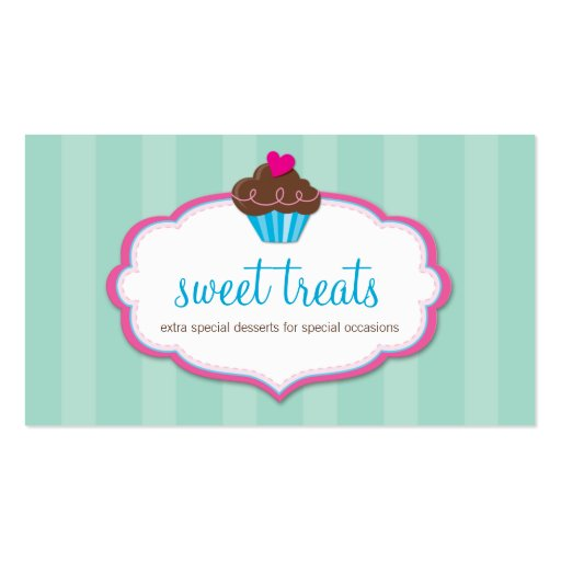 BUSINESS CARD cute bold cupcake pink mint green (front side)