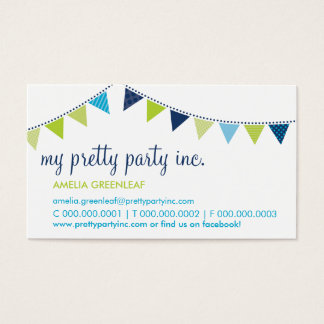 BUSINESS CARD :: cute bunting navy lime aqua