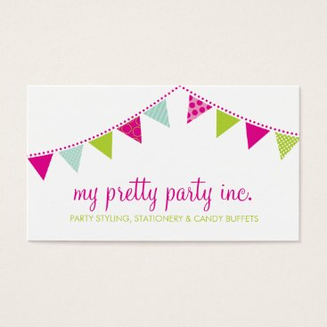 Professional Business BUSINESS CARD :: cute bunting pink lime mint