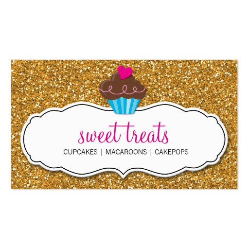 BUSINESS CARD cute cupcake pink gold glitter