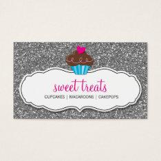 Business Card Cute Cupcake Pink Silver Glitter at Zazzle