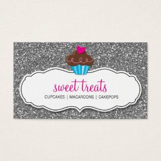 BUSINESS CARD cute cupcake pink silver glitter