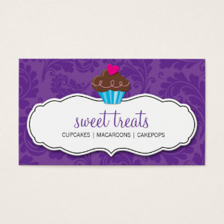 BUSINESS CARD cute pretty flourish cupcake purple