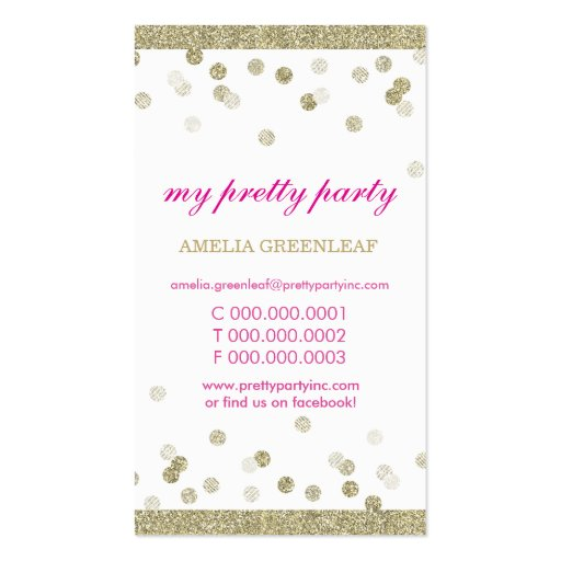 BUSINESS CARD cute stylish confetti gold glitter