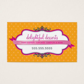 BUSINESS CARD cute stylish fuschia pink orange