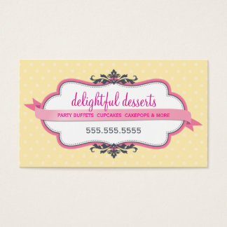 BUSINESS CARD cute stylish pink pastel pale yellow