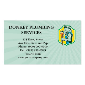 Business card Donkey Plumber Monkey Wrench Shield