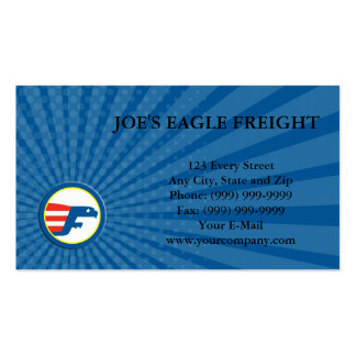 Business card Eagle Flying Flag Side Circle Retro