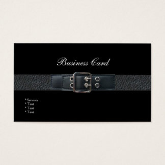 Business Card Elegant Black Leather Belt Buckle