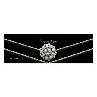 Business Card Elegant Black White Pearl Jewel