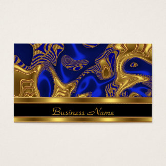 Business Card Elegant Exotic Blue Gold Abstract