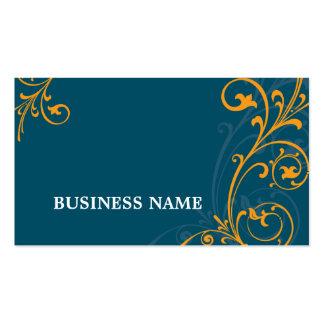 BUSINESS CARD elegant flourish dark blue orange