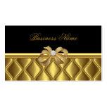 Business Card Elegant Gold Bow Tile Trim Black