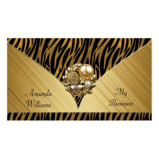 Business Card Elegant Gold Jewel Black Animal