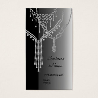 Business Card Elegant Jewels Silver Grey