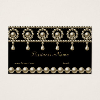 Business Card Elegant Pearls on Black