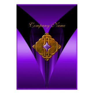 Business Card Elegant Purple Gold Jewel