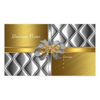 Business Card Elegant Silver Gold BowsTile Trim Business Cards