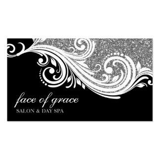 BUSINESS CARD elegant swirl silver glitter black