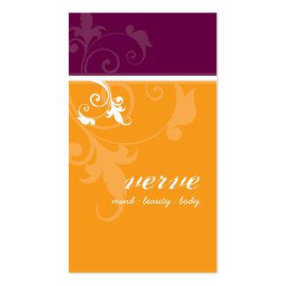 BUSINESS CARD elegant verve foliage orange plum