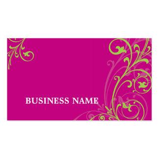 BUSINESS CARD fabulous elegant flourish pink lime