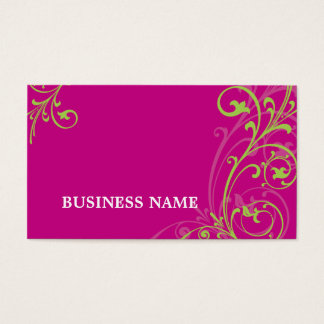 BUSINESS CARD fabulous elegant flourish pink lime