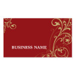 BUSINESS CARD fabulous elegant flourish red gold
