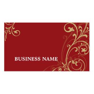 BUSINESS CARD fabulous elegant flourish red gold