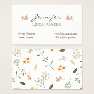 Professional Business Business Card flowers minimalist coral color tone.