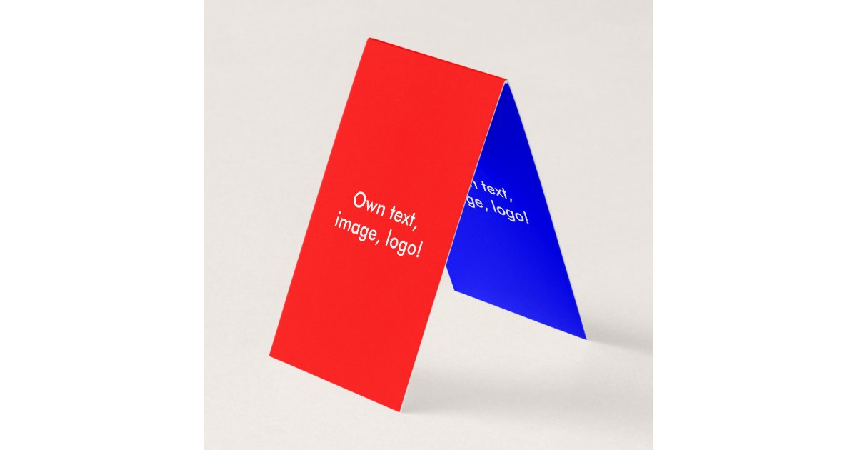 Business Card Folded Tent V Red-Royal Blue | Zazzle.com